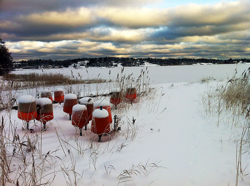 Vinter på bryggan i Hålviken