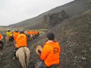 Lavaformationer på väg ner genom Hítardalur